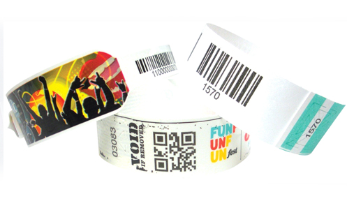 Tyvek wristbands with barcodes and/or QR codes