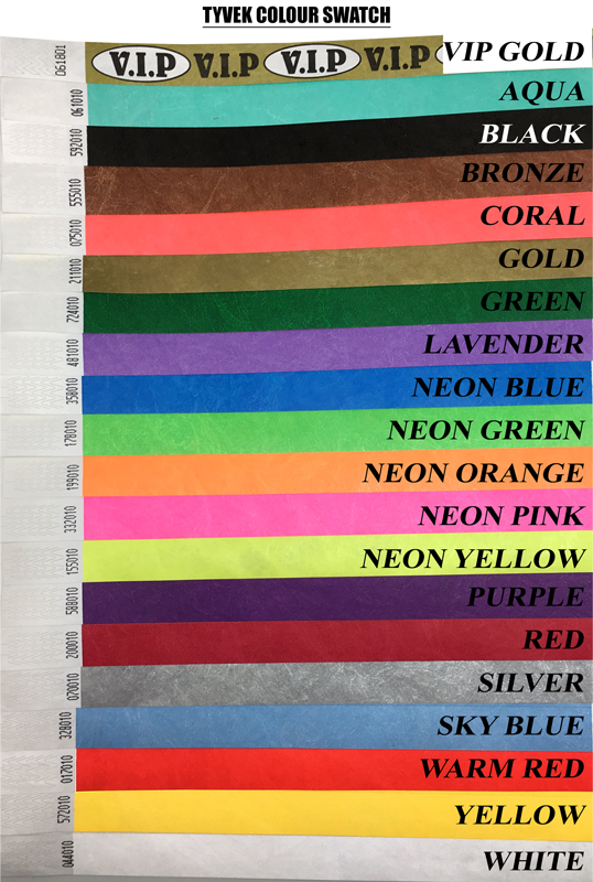 Tyvek paper wristbands colour swatch