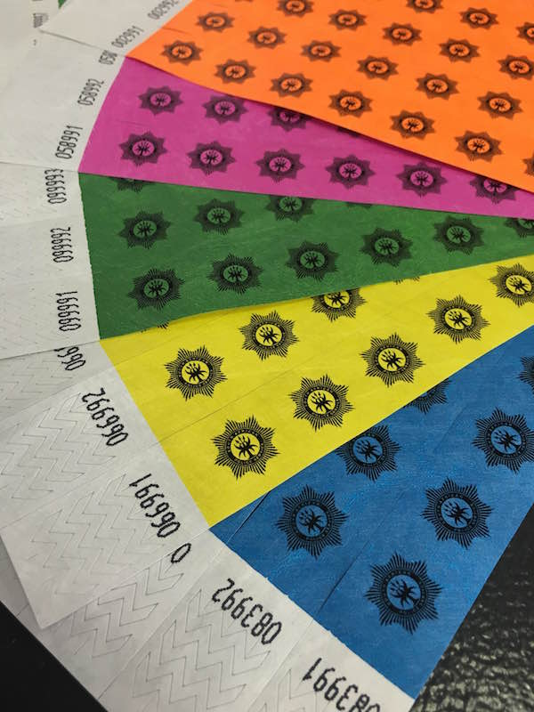 Single colour Black Print tyvek wristbands