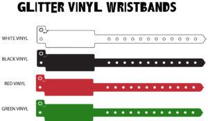 Available Glitter vinyl wristbands