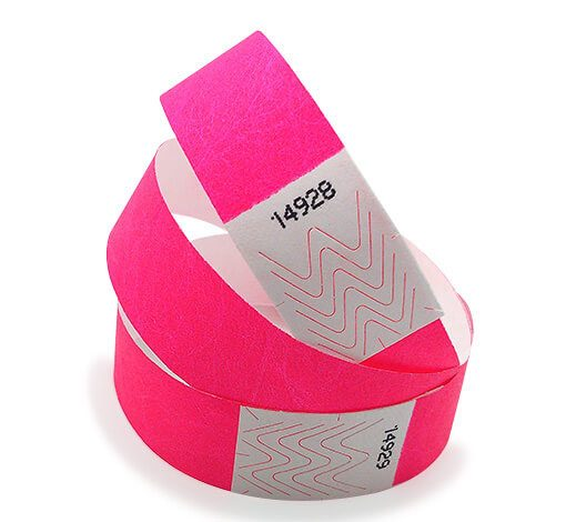 Pink tyvek wristbands